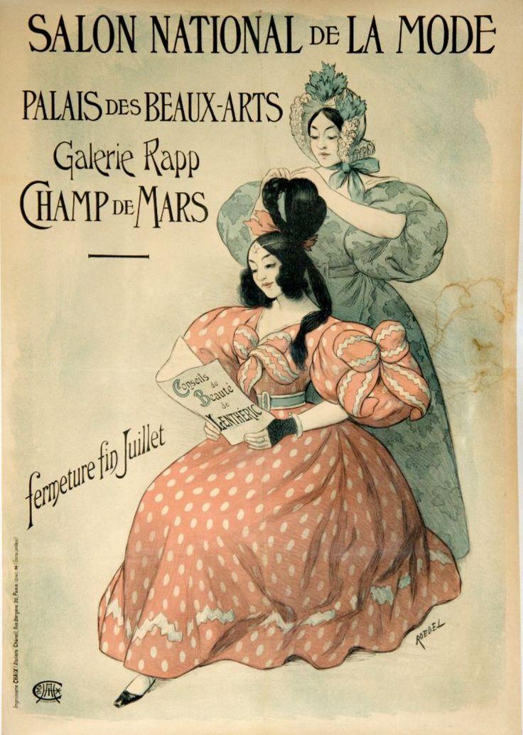 """ROEDEL (1859-1900) SALON NATIONAL DE LA MODE. Palais des Beaux-Arts, Champ de Mars- Vers 1896 Imprimerie Chaix (ateliers Chéret) rue Bergère, Paris - Encres Lorilleux - 125 x 88 cm - Entoilée, bon état (salissures) Bibliographie: """"das frühe plakat in Europa und den USA"""", tome 2, n°758, p. 218. Yann Le Mouel - 11/02/2016"""