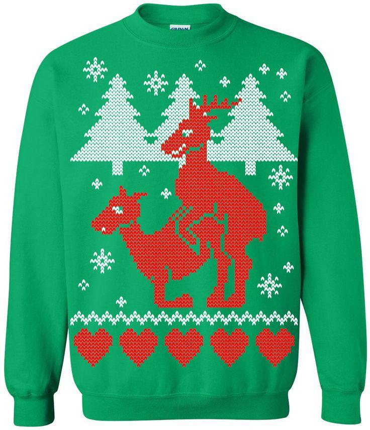 Ugly Christmas Sweater - Humping Reindeer Crew Neck Sweatshirt - X-mas Tee - Funny Christmas Sweater Shirt by rwelite on Etsy