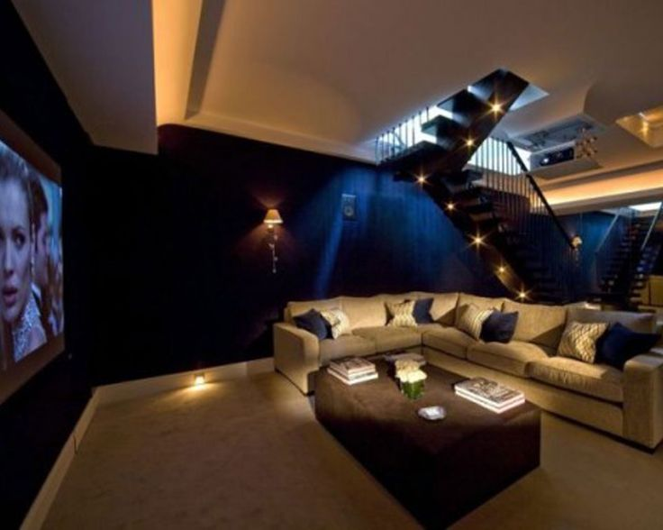 Home Designs, Cool Stylish Home Theater Room Plan Design Inspiration With Comfortable Beige Sectional Sofa And Soft Cushion Ottoman In Brown Color Also Beautiful Dark Blue Wall Painted : Modern Home Theater Room Planner