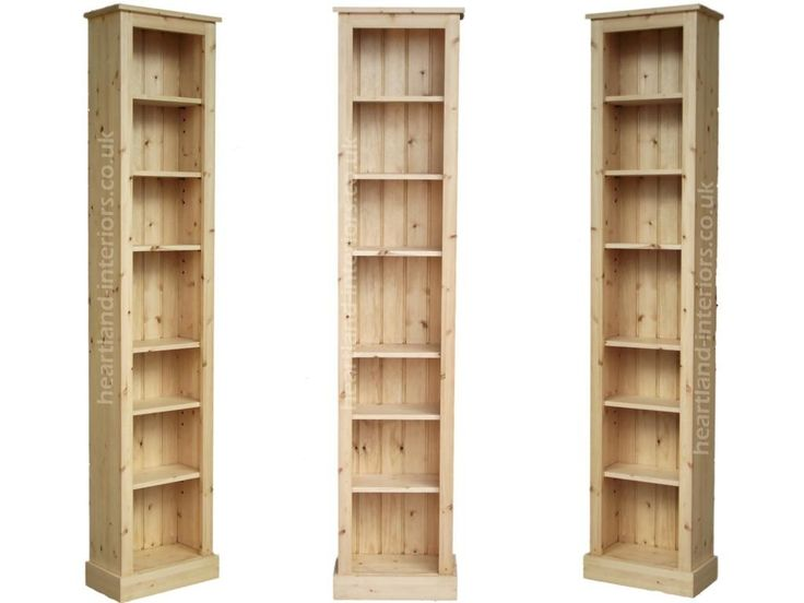 Solid Pine Or Oak 7ft Tall Narrow Slim Jim Bookcase