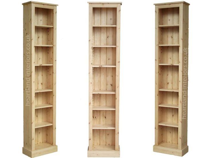 Solid Pine or Oak 7ft Tall Narrow Slim Jim Bookcase