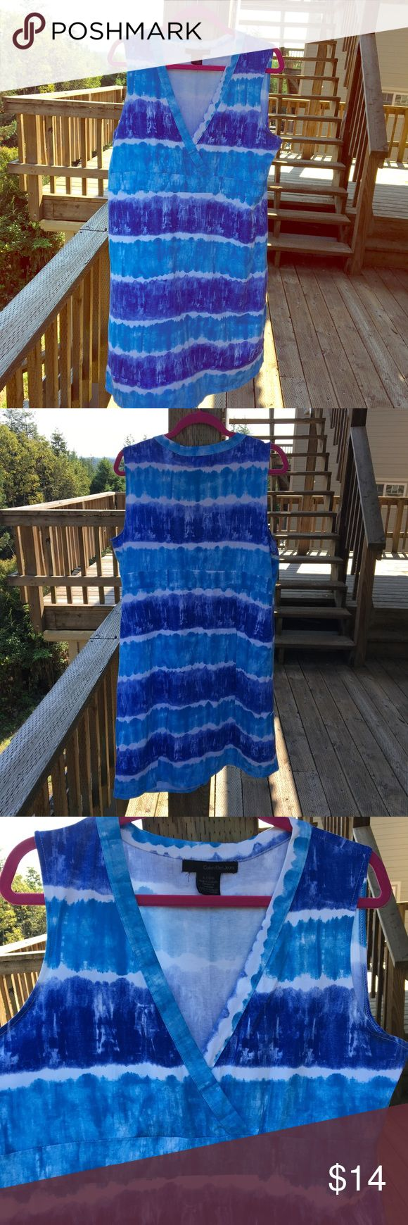 "Tie-Dyed Crisscross Front Dress, XL Simple tie-dyed pattern that really brings out blue eyes, ladies! Shorter on me (I'm 5'11"") so I wore it like a tunic with capri leggings and sandals. Would fit at knee for 5'9"" and shorter. Easy care cotton and elastane. Calvin Klein Jeans Dresses Midi"