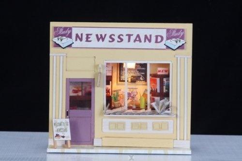 """Originelle Dekoration für das Wohnzimmer Miniaturstube """"Newsstand - Zeitungs- und Zeitschriftenkiosk"""" als kompl. Bastelset mit Beleuchtung und aufklappbar von Hongda, http://www.amazon.de/gp/product/B008WAXOFI/ref=cm_sw_r_pi_alp_Kdx3qb137B2VK"""