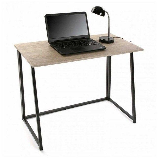 Versa Table De Bureau Pliante Mdf Et Metal Noir Versa La Redoute Bureau Pliable Bureau Pliant Bois Metal