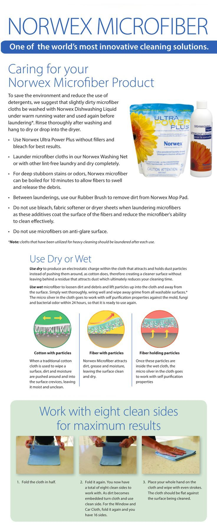 Norwex Microfiber Washing Care And Usage Instructions