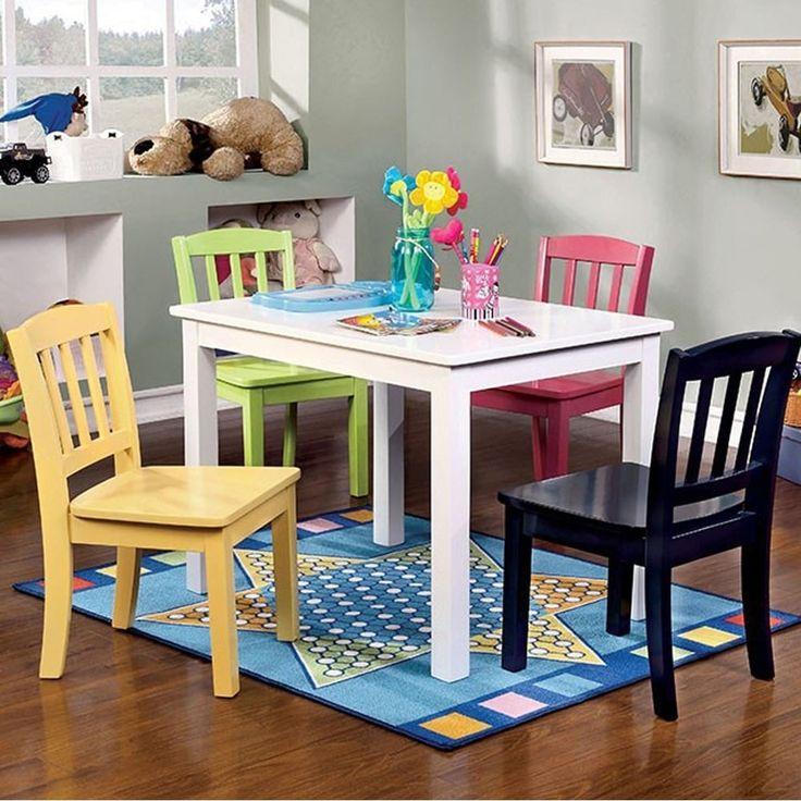 Benzara Kelsey Transitional Kids Table Chair Set, Set of 5