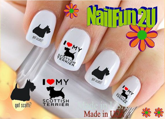 "Nail Art Waterslide 12 Decals Ready to Go Set#161 "" Scottish Terrier I love "" Transfer Stickers"
