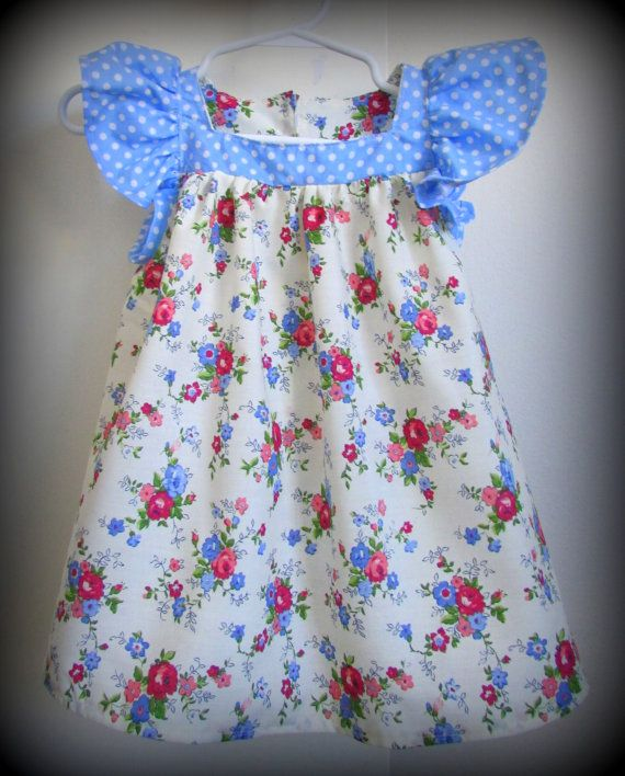 * Cotton flowery print dress * Baby blue and white polka dot front + ruffle sleeve  * European sizing suits 74cm- 80 cm tall girl    * I make one off