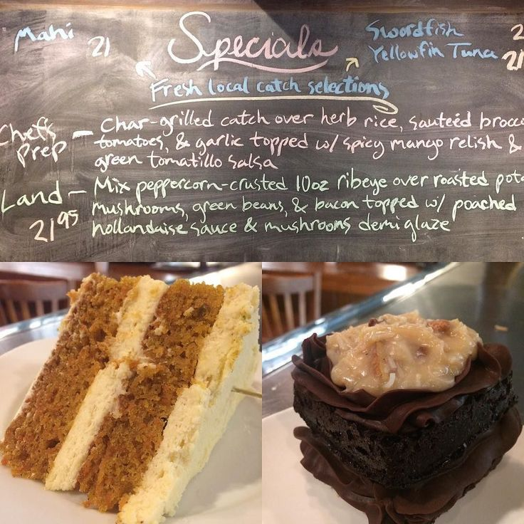 Tuesday Specials #chargrilled #mahi #swordfish #yellowfintuna #snscafe #uncw #freshbread #germanchocolatecake #carrotcake #yummydessert #moresweets