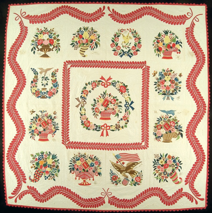 Album quilt, floral baskets with elaborate border, William R. Dunton collection