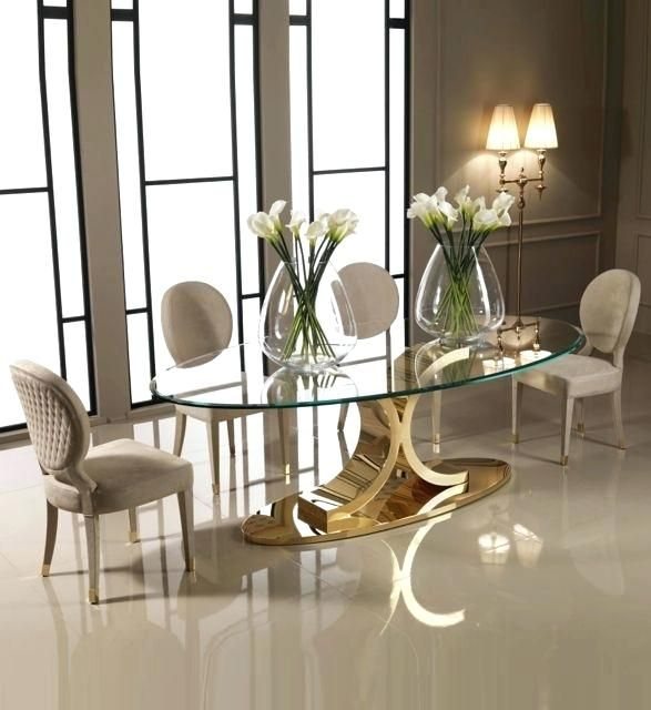 Oval Glass Dining Table Designer Carat Gold Oval Glass Dining Set Luxurious And Made To Measure B Glass Dining Set Luxury Dining Tables Oval Glass Dining Table