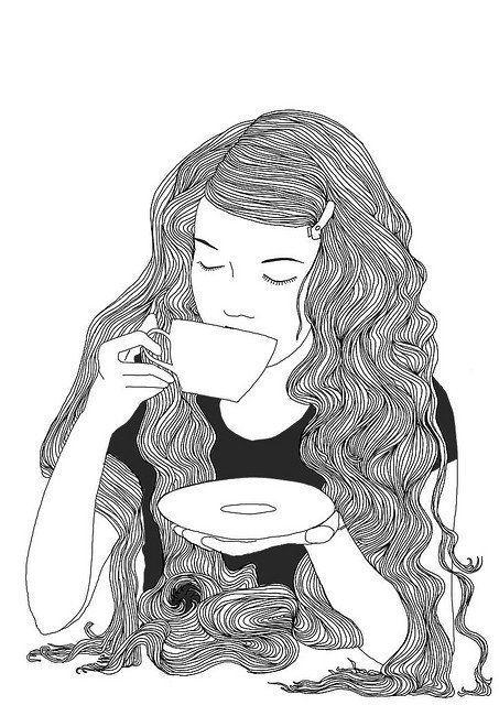 Drinking tea; Illustration