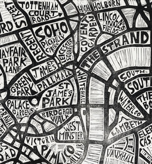 Linocut map by Abi Daker