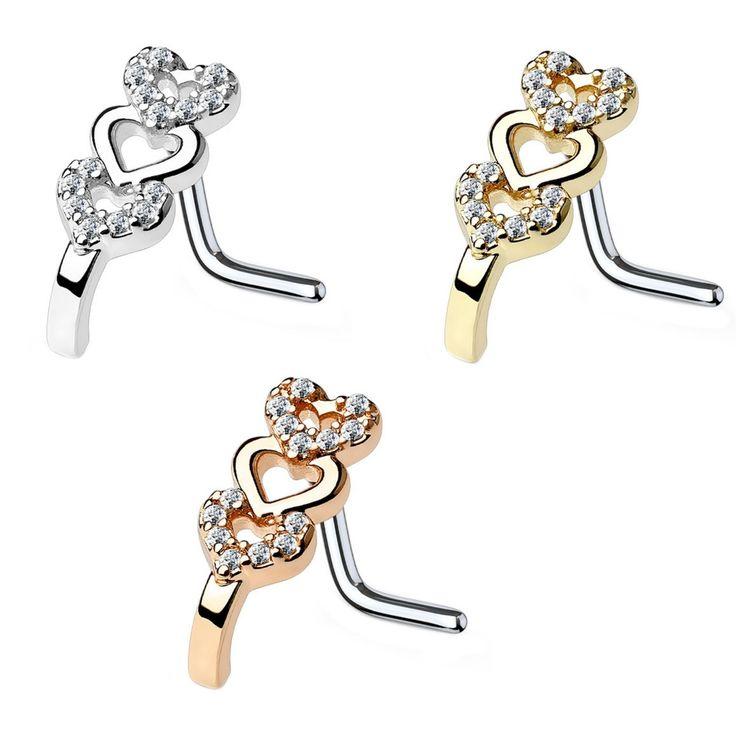 BodyDazz.com - Triple Heart Nose Crawler Nose Ring Stud 20G/18G, $8.95 (https://www.bodydazz.com/triple-heart-nose-crawler-nose-ring-stud-20g-18g/)
