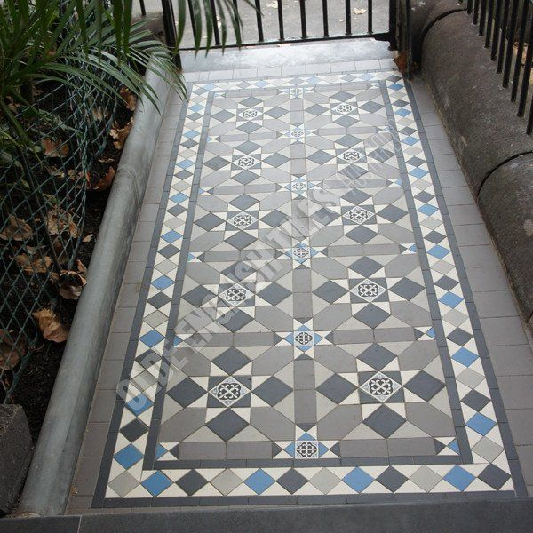 Olde English Tiles – Fitzroy pattern with the Norwood border. Gorgeous Path Heritage Tessellated Tiles