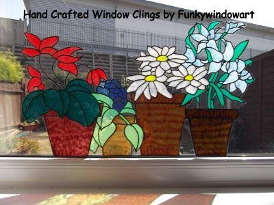flower pots window border style 5 static window cling - Window Clings