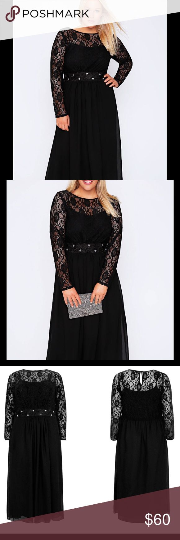 """Black Lace Embellished Maxi Dress Plus Size Upper: 90% Nylon, 10% Elastane, Skirt: 100% Polyester Length from (approx): 150cm/59"""" Plus Sizes: 30 Machine Washable (Model is 5'10"""" and size 16) Plus size black long sleeved maxi dress with floral overlay to the top and silver bead embellishment to the waist. Has a scoop neckline with a keyhole button fastened detail to the back and a jersey underlayer to the chiffon skirt. This elegant dress can be worn with heels and statement jewellery for any…"""