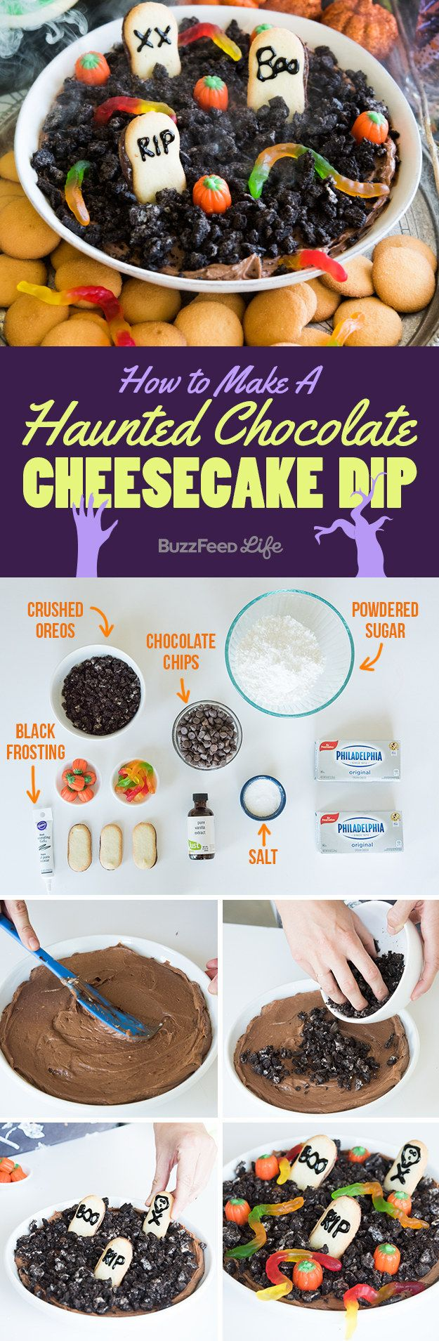 Happy dipping! | How To Make An Insanely Delicious Haunted Chocolate-Cheesecake Dip For Halloween
