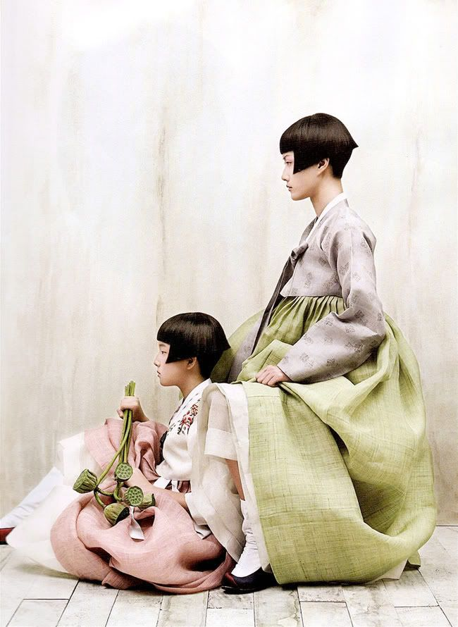 gorgeous images from photogrpaher kim kyung soo for korean vogue 2009. korean traditional dresses with a modern glamorized spin. an amazing editorial.