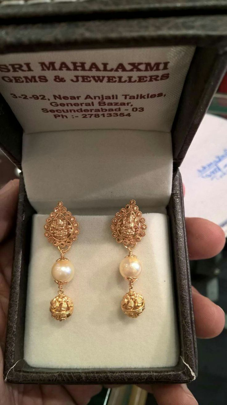 And contemporary gold jhumkas collection by khazana jewellery - Pearl N Gold Jhumkas