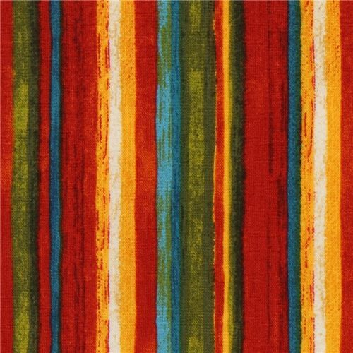 beautiful stripe fabric red-yellow-green Robert Kaufman - Dots, Stripes, Checker - Fabric - kawaii shop modeS4u