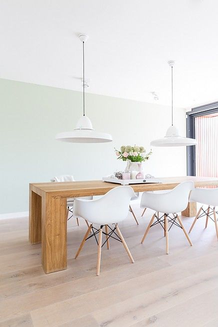 dining - light wood and white eames
