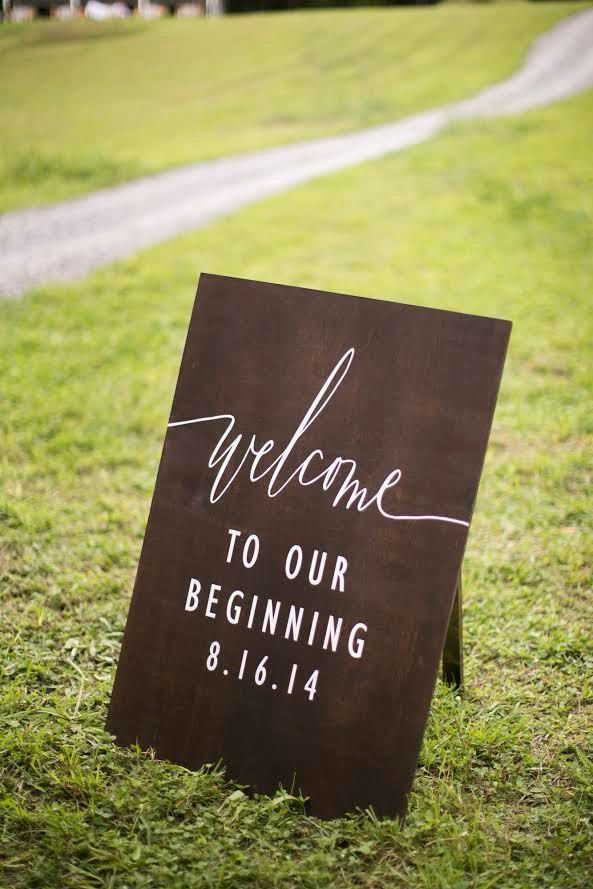 """Welcome to Our Beginning"" sign for your wedding entrance 