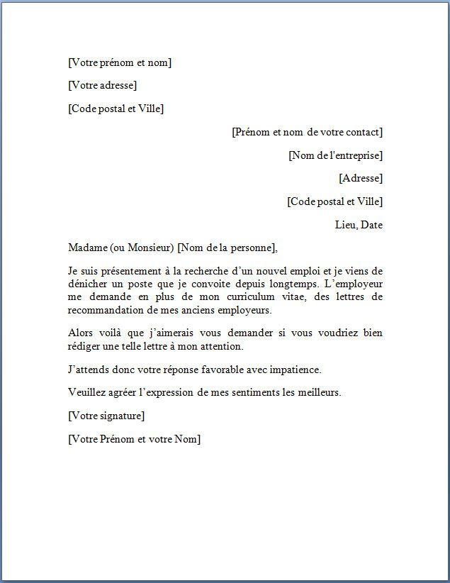 12 Exemple De Lettre De Demande D Emploi Modele Cv Topic Sentences Letter Of Recommendation Words