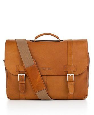 Kenneth Cole Reaction Messenger Bag Columbia Leather Flapover Laptop Friendly Portfolio Business