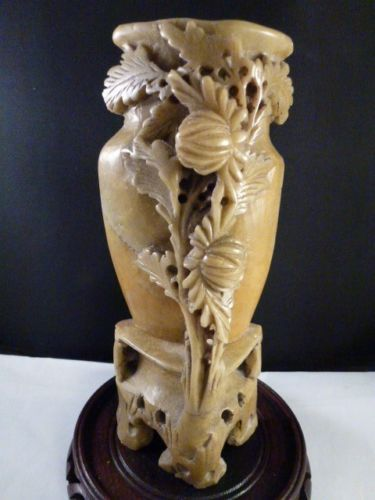 Antique chinese soapstone carving vase with floral