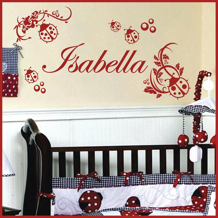ladybug wall decals | Personalized Name LADYBUG Vinyl Wall Decals Art Stickers (No. 041)