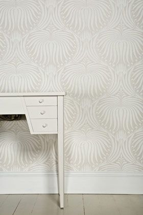 Lotus BP 2007 - Wallpaper Patterns - Farrow & Ball Gorgeous wallpaper; saw it used in a butler's pantry (kitchenwalk) with dark grey cabinetry.