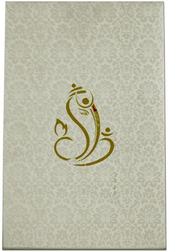A fabulous hardbound card has simple and sober flowery self-designs on the entire front, while central front contain foil design effects of Ganesha, comes with matching inserts and envelope too. It's something unique!