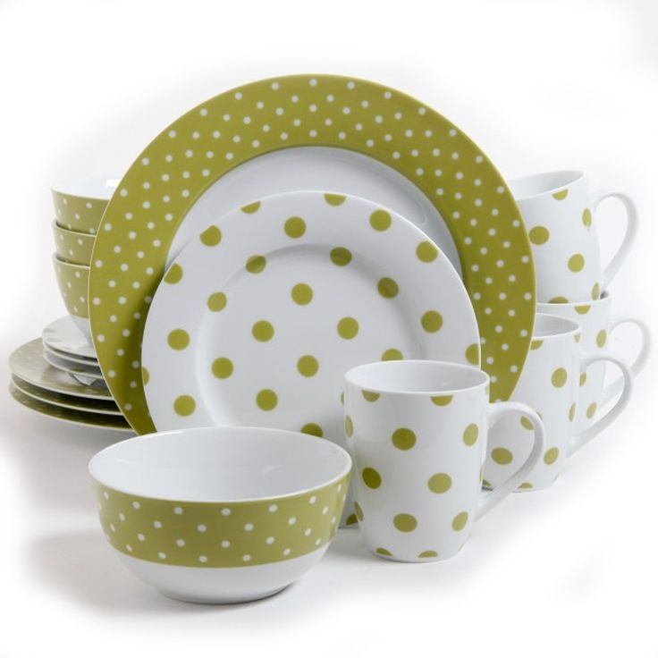 Gibsons Isaac Mizrahi Dot Luxe 16 pc Porcelain Dinnerware Set- Chartreuse. The Isaac Mizrahi Dot Luxe 16 Piece Dinnerware Set is a distinct and striking blend of form and function. These durable and elegant ceramics comes in a variety of gorgeous patterns in either: Orange, Navy, Chartreuse, or Teal. Take your next dining occasion to a higher level of sophistication and fun with these wonderful and eye-catching pieces. Each set comes complete with 4-each of stunning dinner plates, salad…