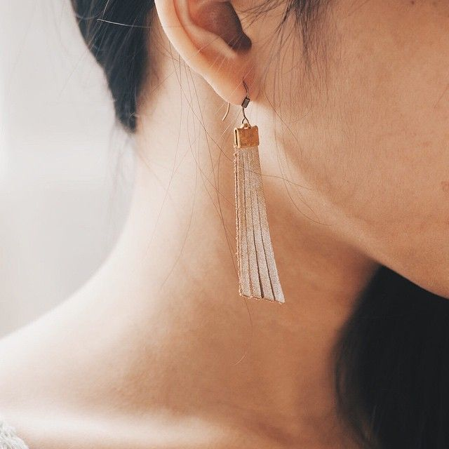 The Sapphire Pillar Type Leather Earrings in Light Gold
