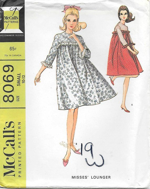 McCall\'s 8069 UNCUT 1960s Misses Lounger Smock Dress Vintage Sewing ...
