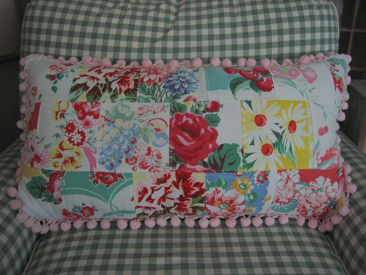 Vintage Tablecloth Patchwork Pillow