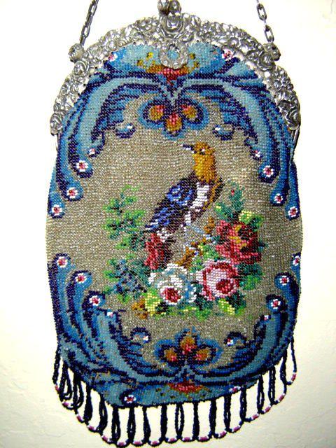 Lovely micro bead, bird purse. Barbara Jones Collection.