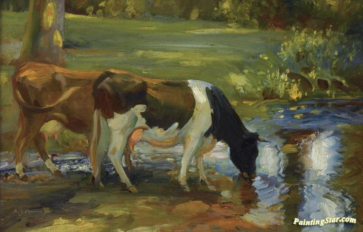 Dairy cows by a stream Artwork by Sir Alfred James Munnings Hand-painted and Art Prints on canvas for sale,you can custom the size and frame