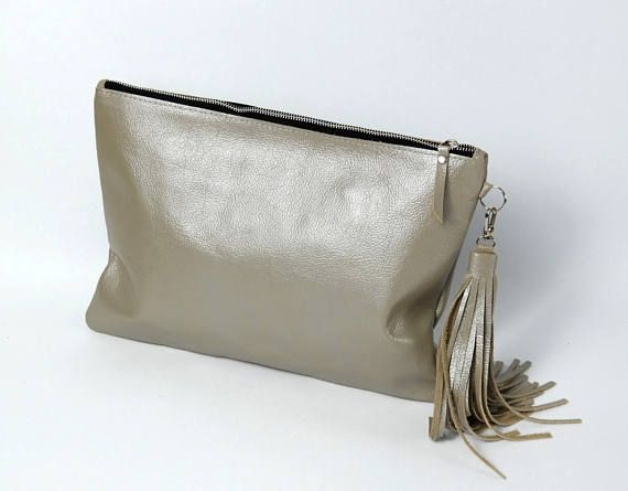 Metallic LEATHER CLUTCH BAG with Tassel   Large Silver