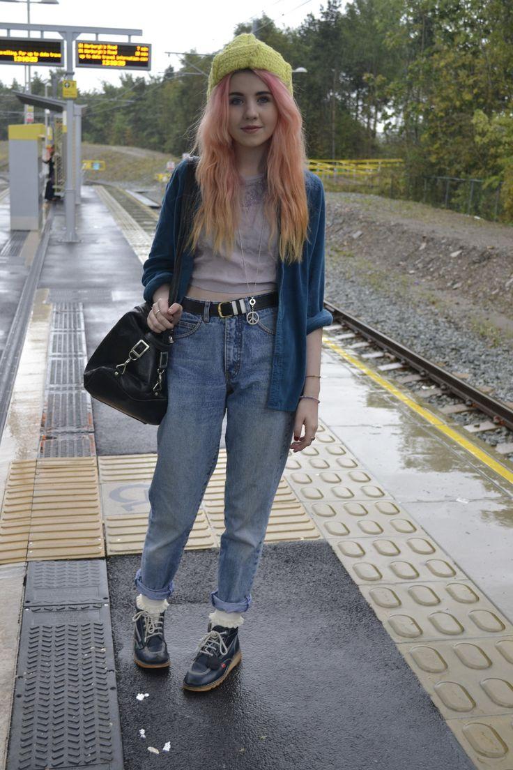 Grunge. Boots. Jeans. Beanie. Jacket. Crop Top. Purse.