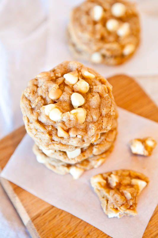 Peanut Butter White Chocolate Oatmeal Cookies.  Soft, sweet, chewy.