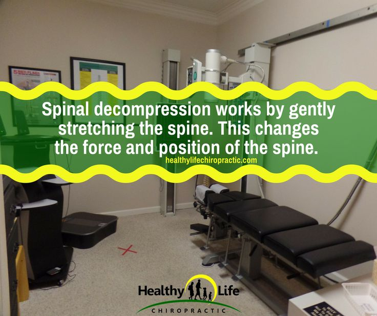 Spinal decompression works by gently stretching the spine. This changes the force and position of the spine.