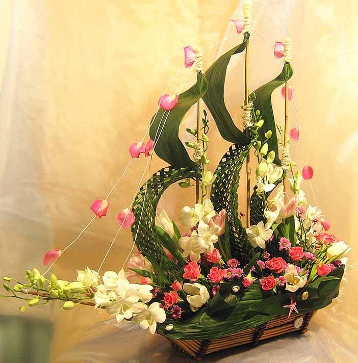 Un barco de flores.