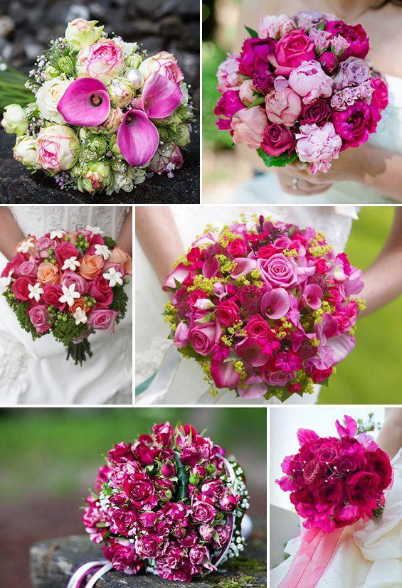 Brautstrau in Rosa oder Pink  viele Ideen von zart bis