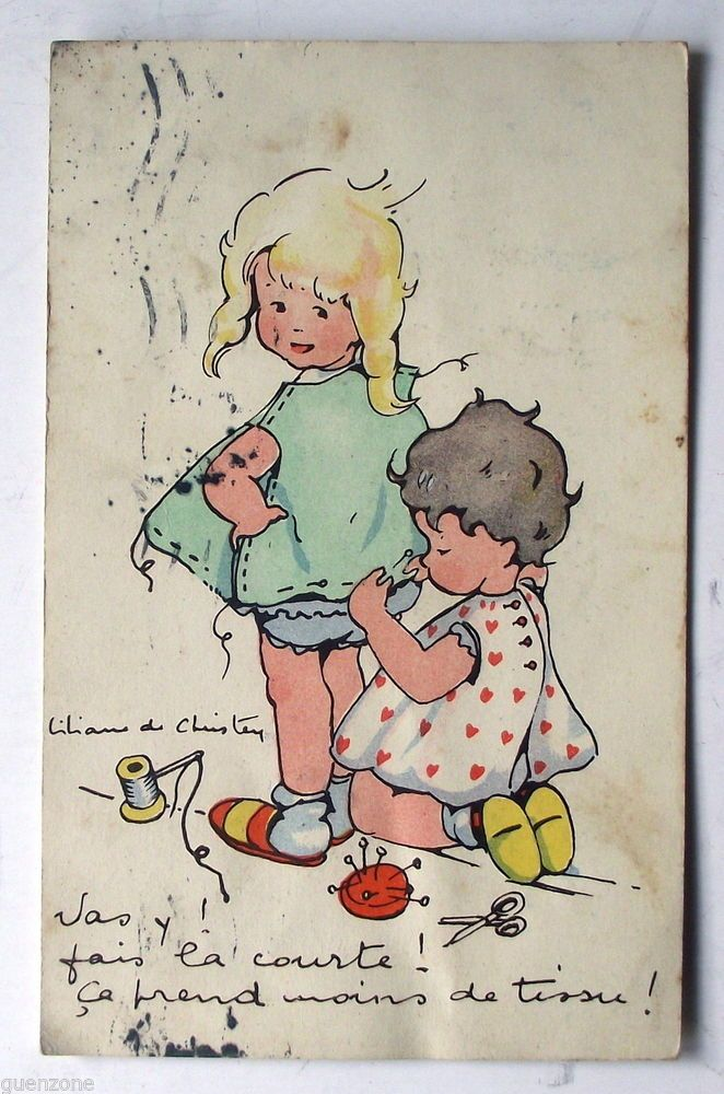 CPA Liliane de Christen couture robe fillettes postcard in Collections, Cartes postales, Thèmes | eBay