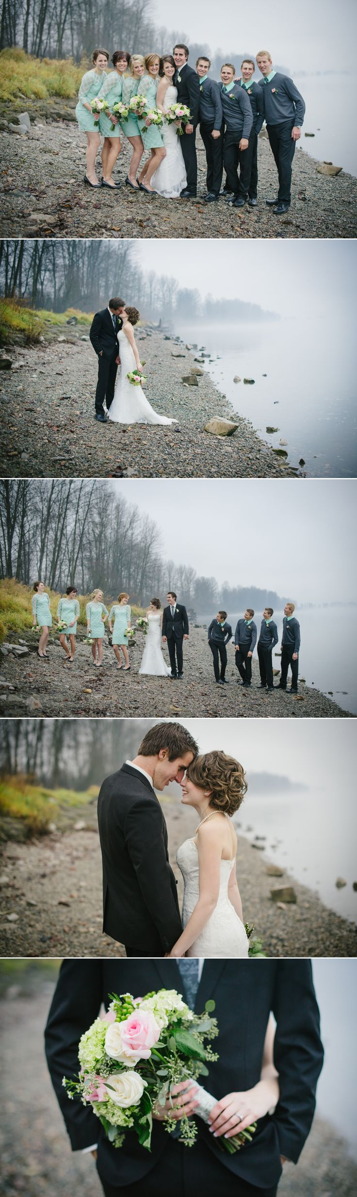 Winter Wedding, Fraser River, Teal Bridesmaid Dresses, Grey Groomsmen, Teal and Grey Wedding, Wedding Portraits, Wedding Party, Tanis Katie Photography