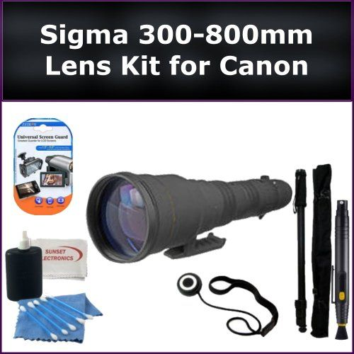 Sigma Zoom Super Telephoto 300-800mm f/5.6 EX DG APO IF HSM Autofocus Lens for Canon Rebel XS EOS 1000D, XSi EOS 450D, XT EOS 350D, XTi EOS 400D Digital SLR Cameras. Package Includes: Sigma 300-800mm Lens, Lens Cap Keeper, Lens Cleaning Pen, Monopod, LCD Screen Protectors, and Cleaning Kit with SSE Microfiber Cleaning Cloth - http://slrscameras.everythingreviews.net/8121/sigma-zoom-super-telephoto-300-800mm-f5-6-ex-dg-apo-if-hsm-autofocus-lens-for-canon-rebel-xs-eos-1000d-xsi