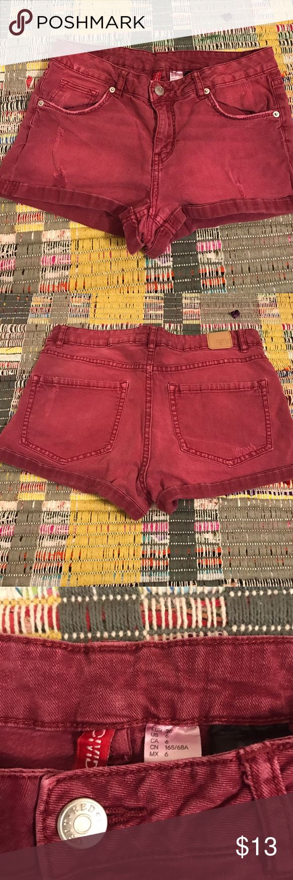 H&M maroon shorts Short shorts with distressed detailing. Worn but in good condition H&M Shorts Jean Shorts