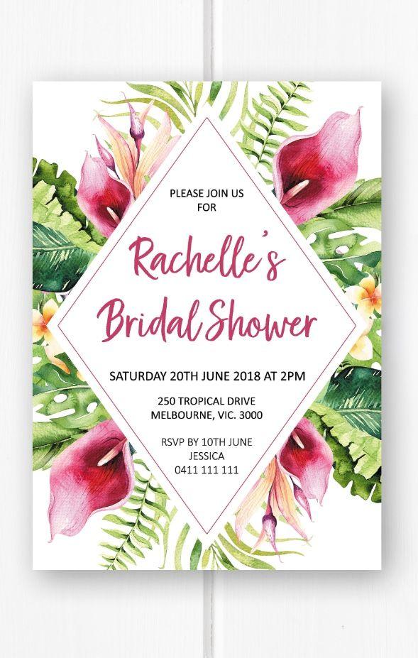 Tropical bridal shower invitation printable, bridal shower ideas, bridal shower invite from Pink Summer Designs on Etsy